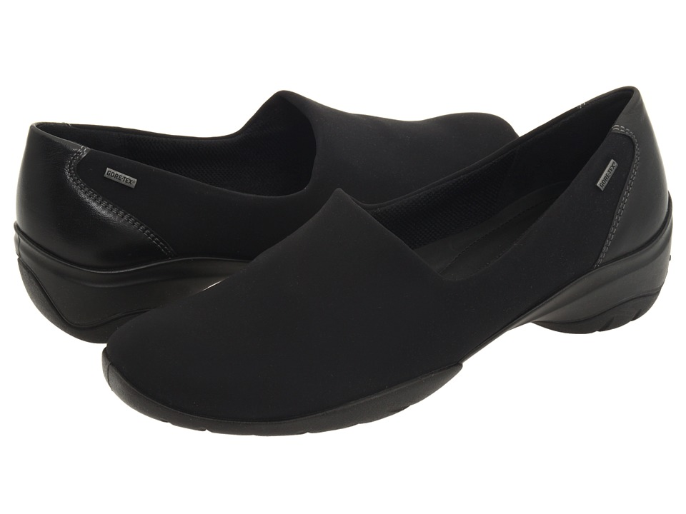 ECCO - Rise GTX Slip On (Black Stretch/Black Leather) Women's Slip on Shoes
