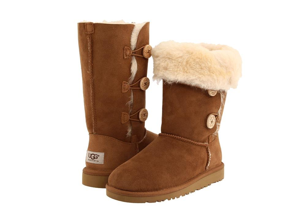 UGG Kids - Bailey Button Triplet (Little Kid/Big Kid) (Chestnut) Girls Shoes