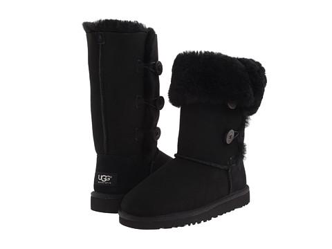 UGG Kids - Bailey Button Triplet (Little Kid/Big Kid) (Black) Girls Shoes