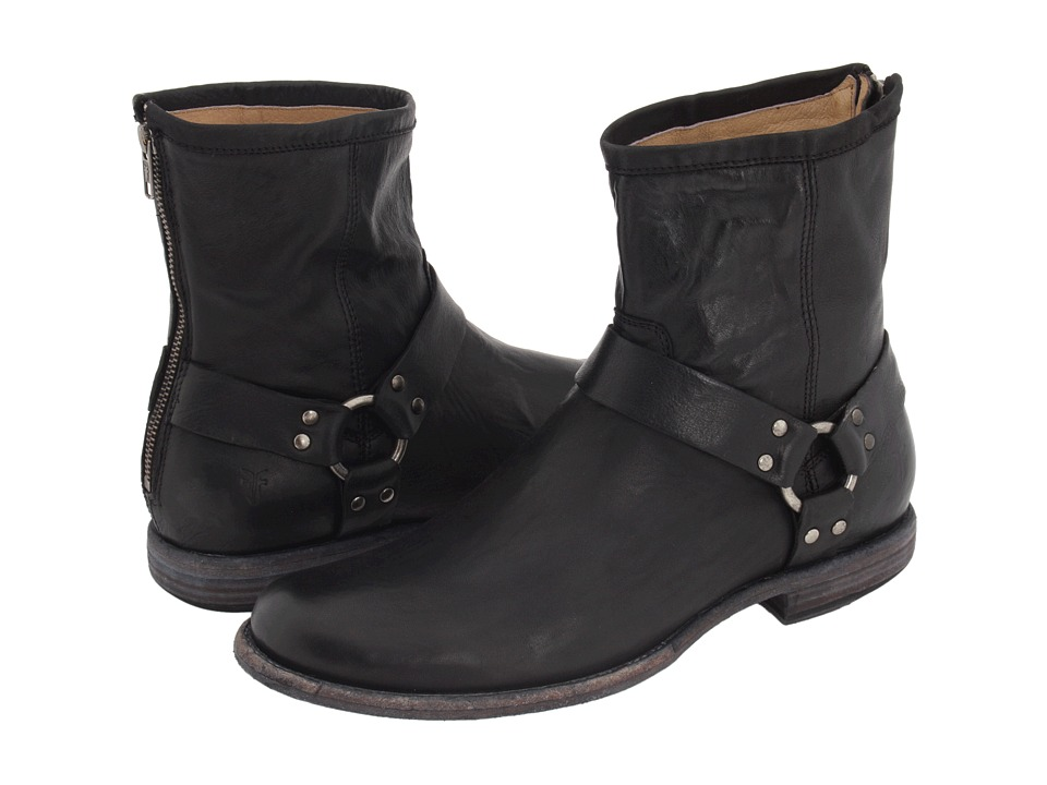 Frye - Phillip Harness (Black Vintage Leather) Men's Pull-on Boots