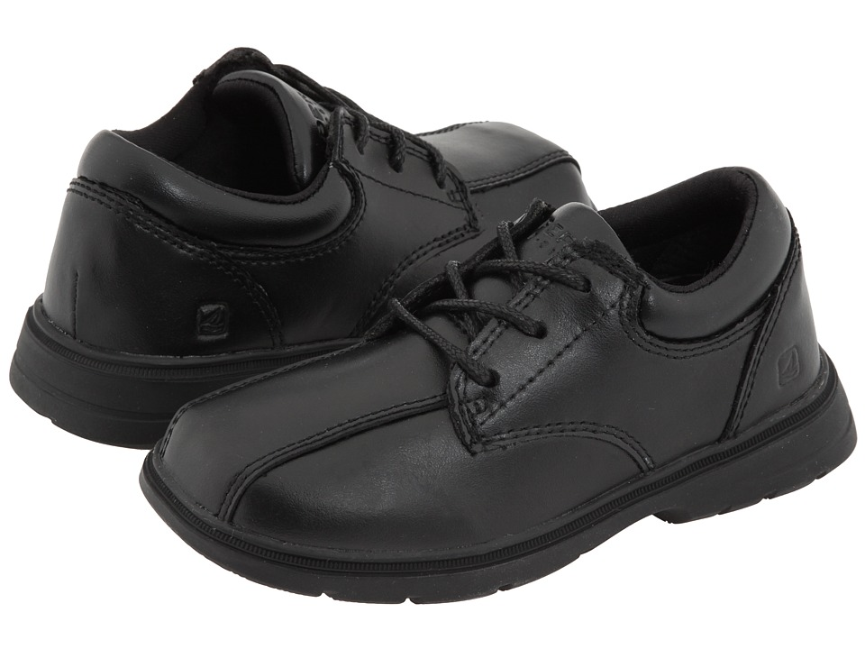 Sperry Kids - Nathaniel (Toddler/Little Kid) (Black Leather) Boys Shoes