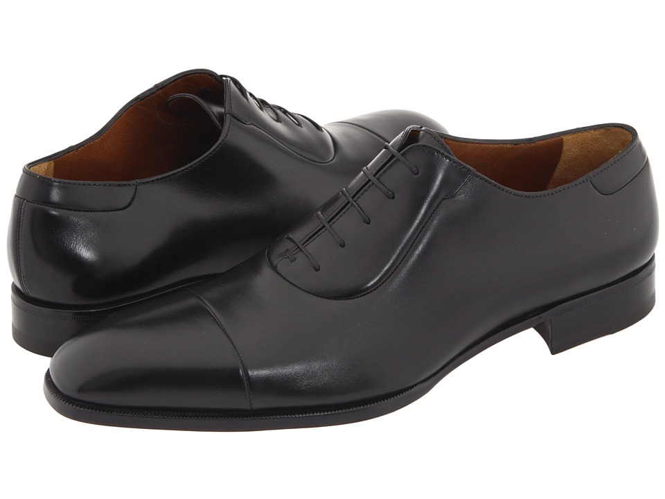 Image of a. testoni - Cap Toe Lace Up Oxford (Black Calf) Men's Lace Up Cap Toe Shoes