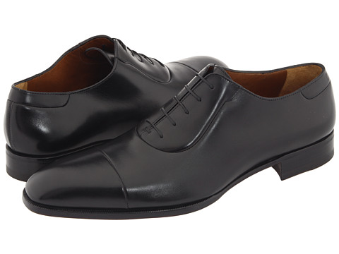 a. testoni - Cap Toe Lace Up Oxford (Black Calf) Men