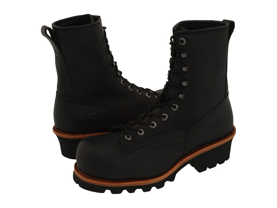 Chippewa - 8 Composition Toe Lace to Toe Logger (Black) Men's Work Lace-up Boots