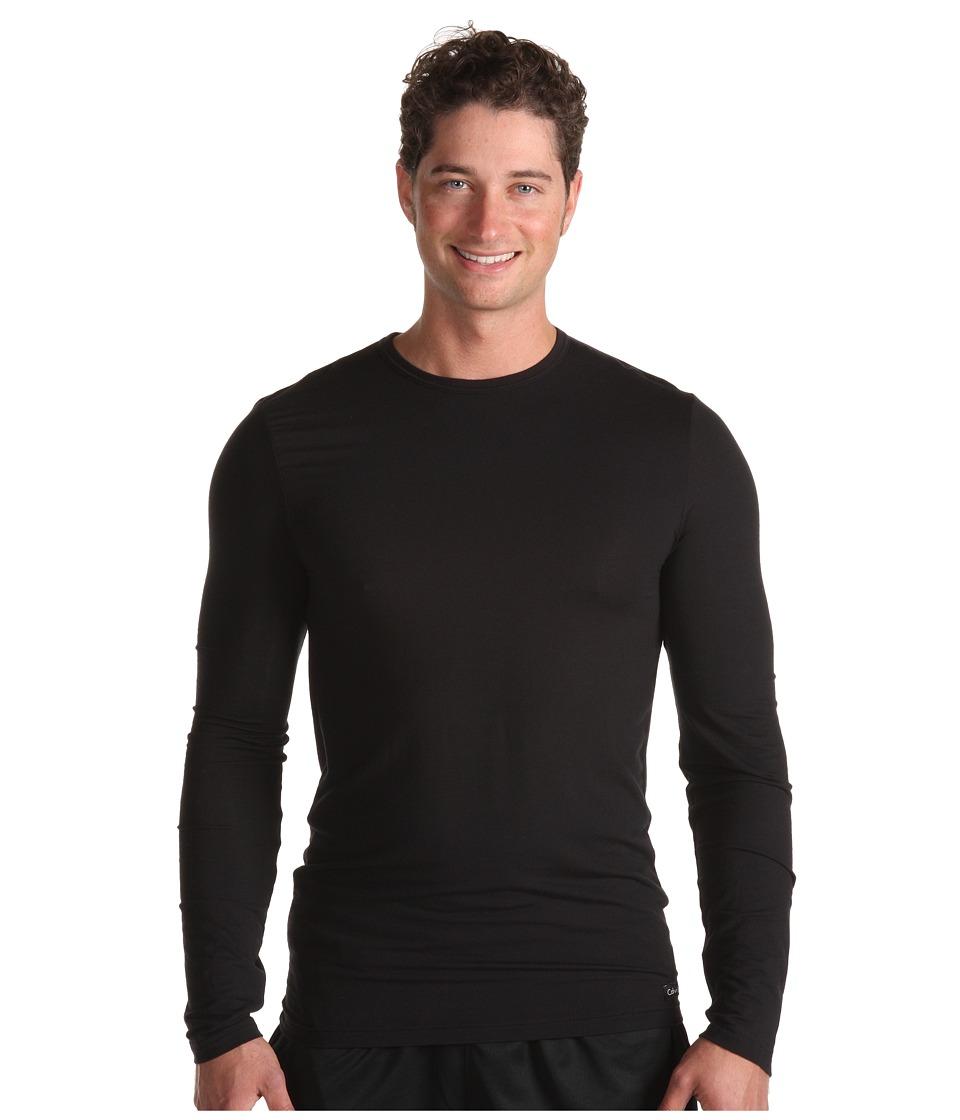Calvin Klein Underwear - Micro Modal Sleepwear L/S Crew (Black) Men's Pajama