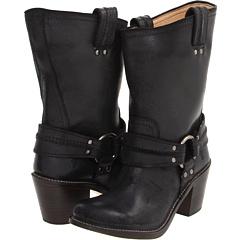 Frye Carmen Harness Short (Black Waxed Suede) Footwear