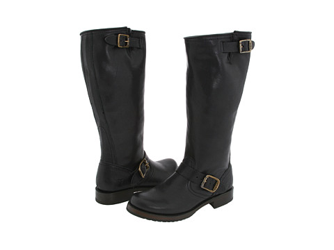 Frye - Veronica Slouch - Wide Calf (Black Extended Tumbled Full Grain) Cowboy Boots