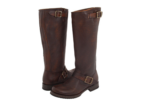 Frye - Veronica Slouch - Wide Calf (Dark Brown Extended Calf Shine Vintage) Cowboy Boots