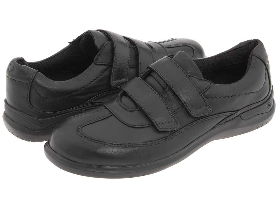 Aravon - Flora (Black Leather) Women's Hook and Loop Shoes