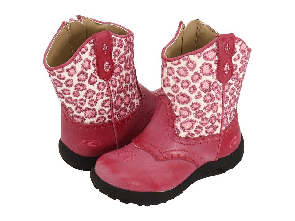 Roper Kids - Chunklets (Infant/Toddler) (Pink Glitter Leopard Print) Cowboy Boots