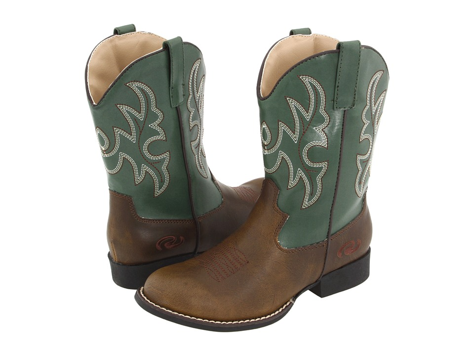 Roper Kids - Round Toe Cowboy Boots (Toddler/Youth) (Brown/Green) Cowboy Boots