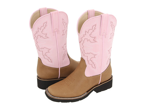 Roper Kids - Square Toe Cowboy Boots (Toddler/Youth) (Tan/Pink) Cowboy Boots