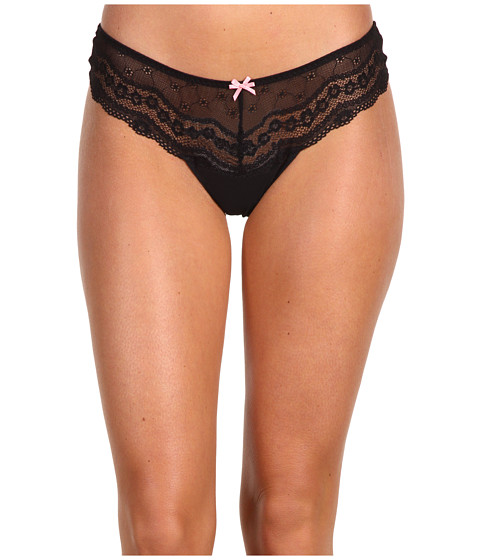 Betsey Johnson - Eyelet Lace Lo-Rise Wide Side Thong 722325 (Raven Black) Women
