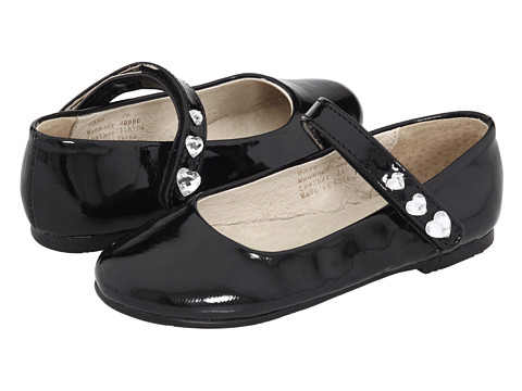 Pazitos - Hearts MJ PU (Infant/Toddler) (Black) Girls Shoes