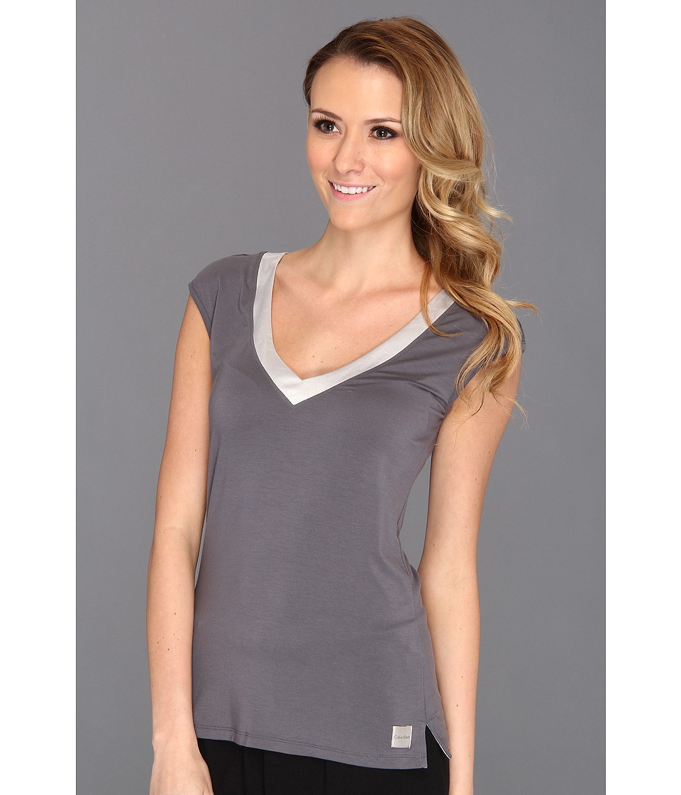 Calvin Klein Underwear Essentials w/ Satin Trim Cap Sleeve PJ Top (Medium Charcoal) Women