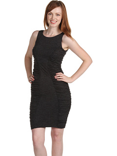 SALE! $64.99 - Save $63 on Calvin Klein Jersey Ruched Insets Dress (Charcoal) Apparel - 49.23% OFF $128.00