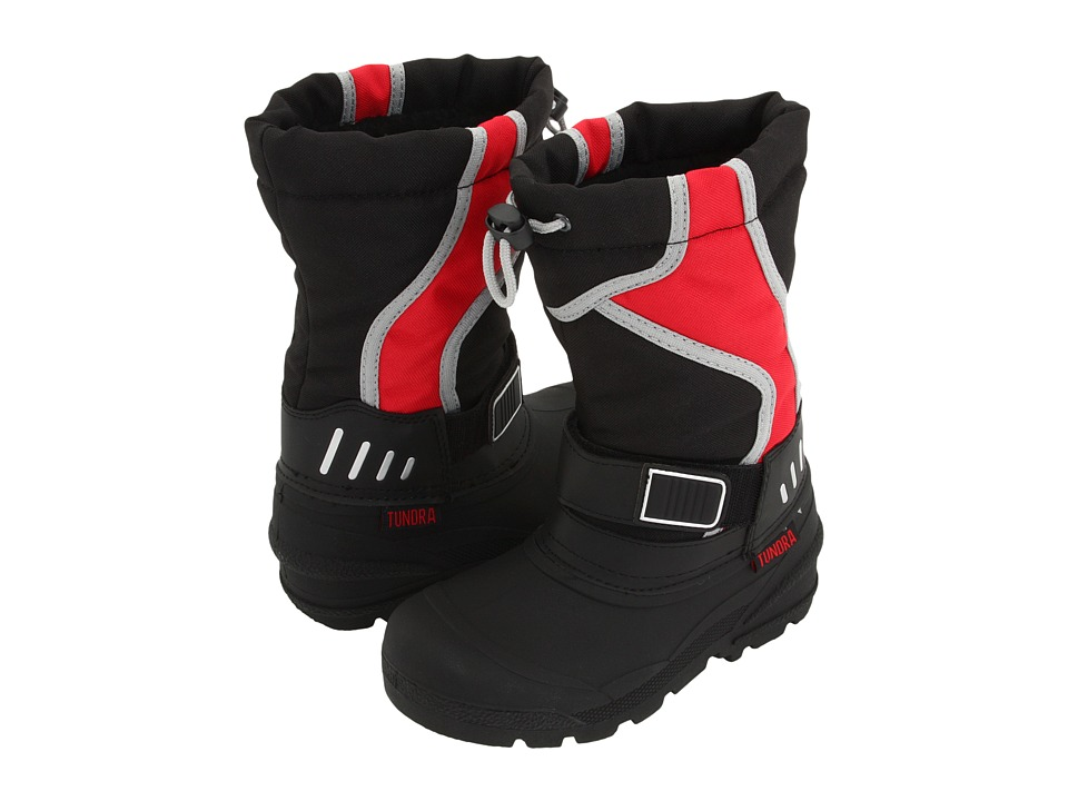 Tundra Boots Kids - Ottawa (Little Kid/Big Kid) (Black/Red/Grey) Boys Shoes