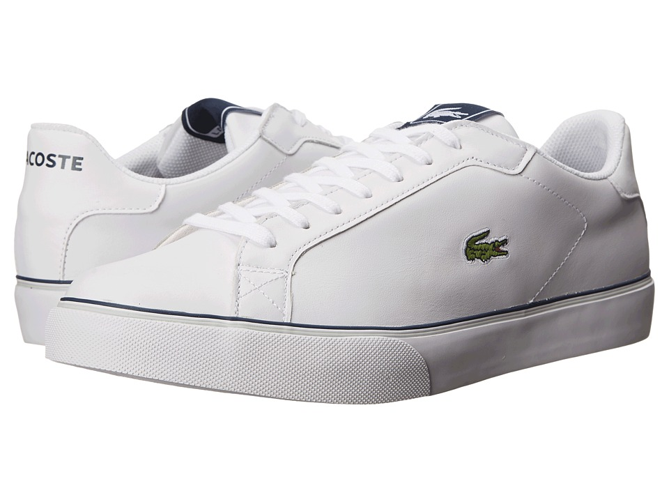 Lacoste - Marling Low (White/Dark Blue) Men's Lace up casual Shoes