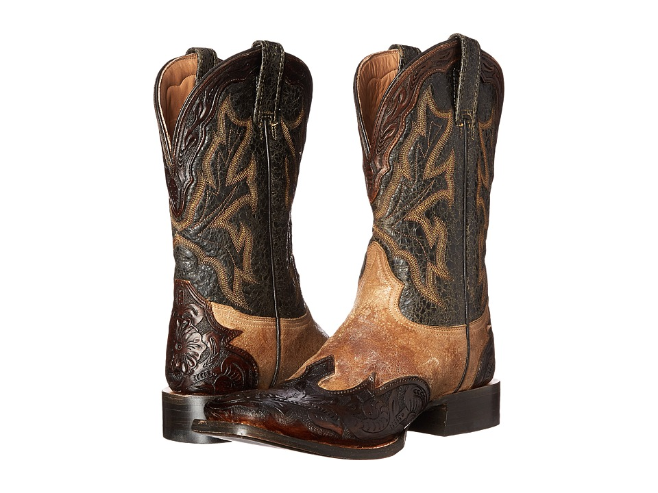 Stetson - Tooled Square Toe Wing Tip Boot (Hand Tooled Saddle Camel) Cowboy Boots