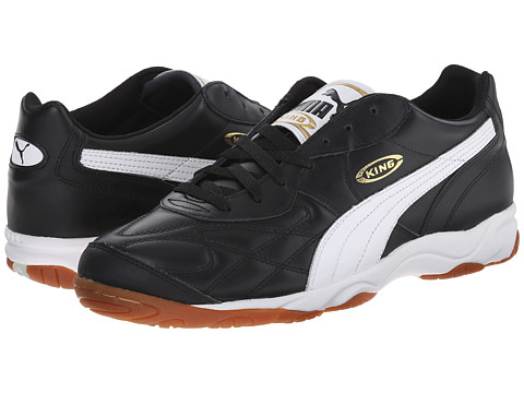 PUMA - King Indoor IT (Black/White/Gold) Men's Soccer Shoes