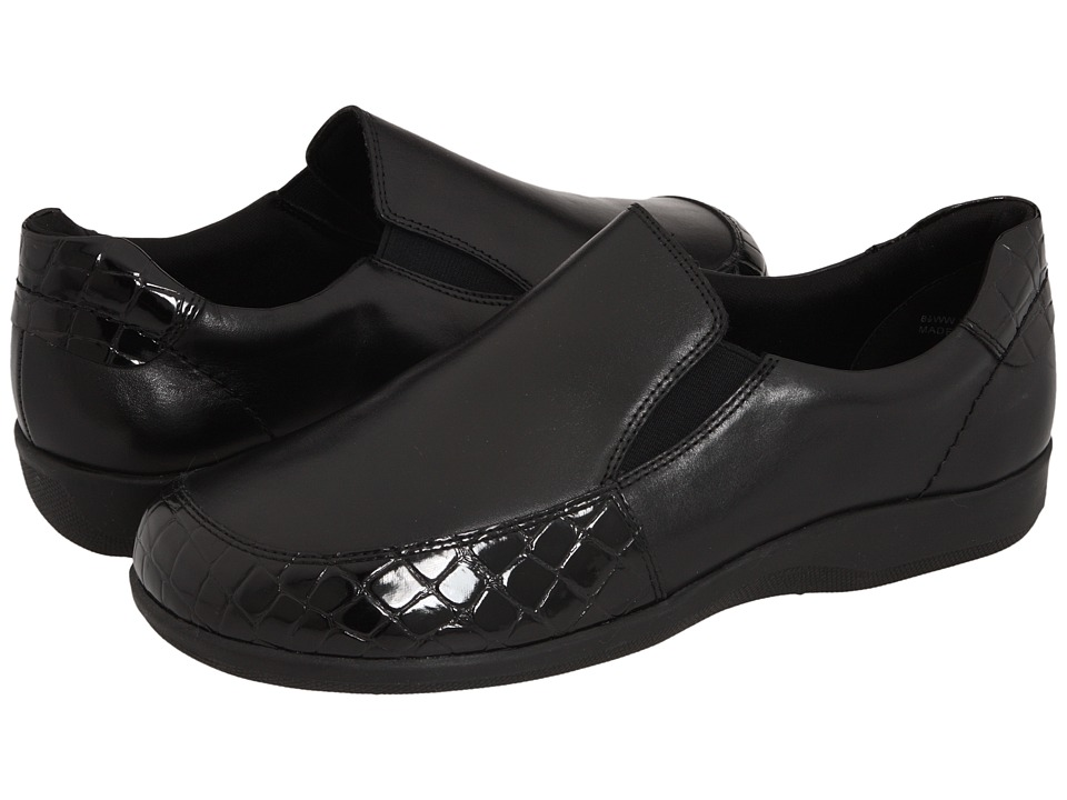 Walking Cradles Andie (Black Leather/Croco Patent) Women