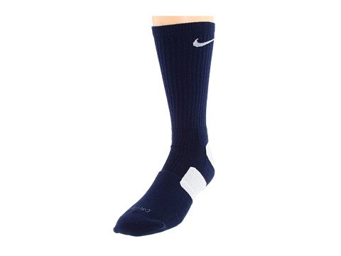 Nike - Nike Elite Basketball Crew 1-Pair Pack (Midnight Navy/White/(White)) Crew Cut Socks Shoes