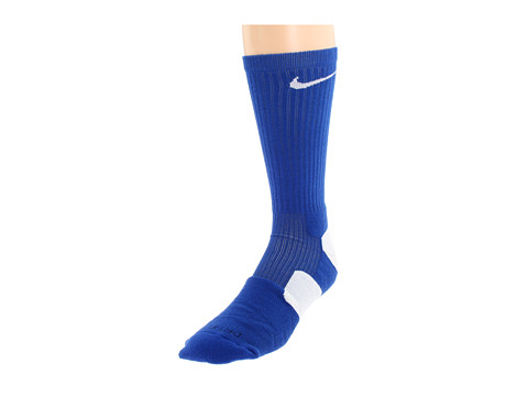 Nike - Nike Elite Basketball Crew 1-Pair Pack (Game Royal/White/(White)) Crew Cut Socks Shoes