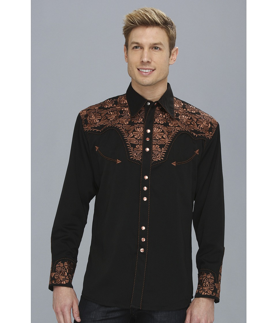 Scully - Floral Tooled Shirt (Black) Men's Long Sleeve Button Up