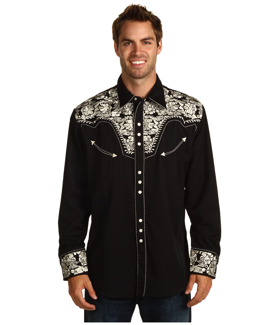 Scully - Floral Tooled Shirt (Silver/Black) Men's Long Sleeve Button Up