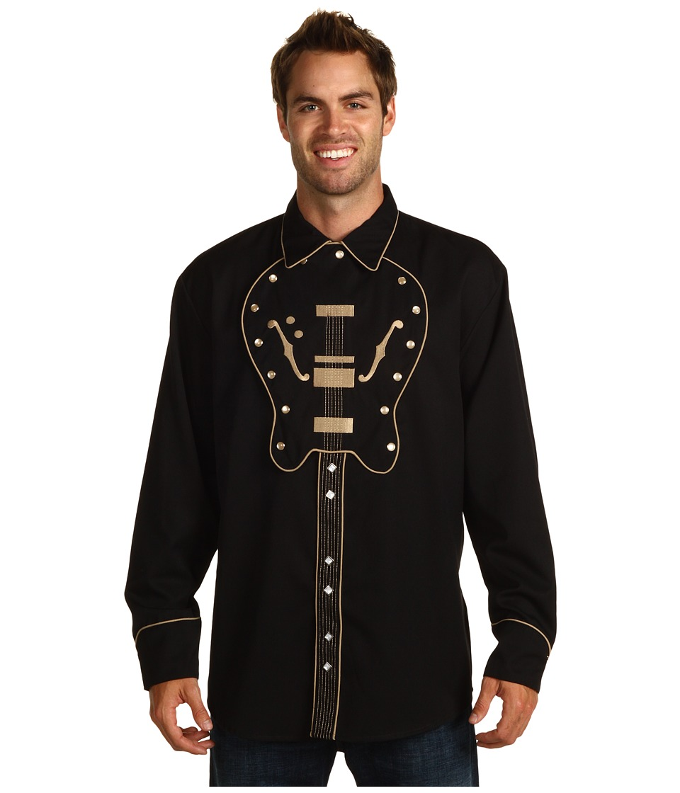 Scully - Guitar Bib Shirt (Black) Men's Long Sleeve Button Up