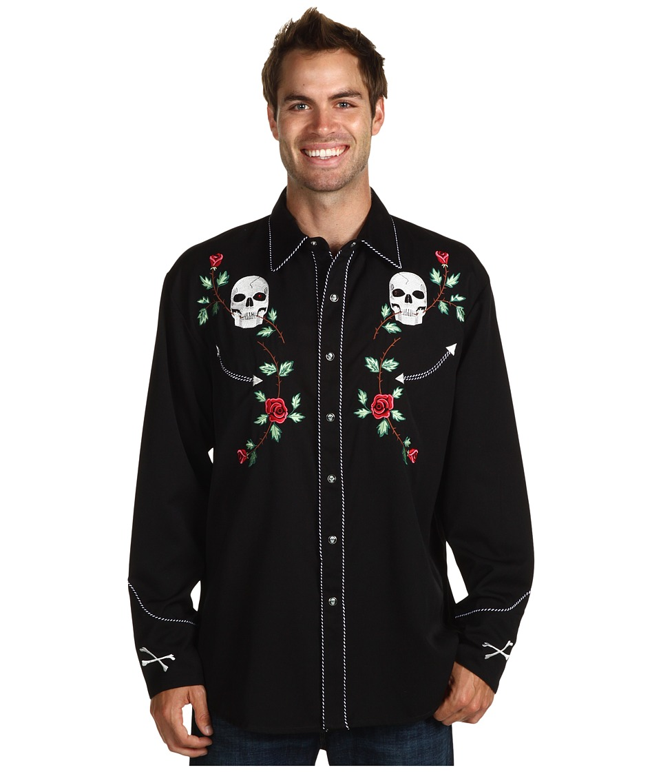 Scully - Skull Roses Shirt (Black) Men's Long Sleeve Button Up