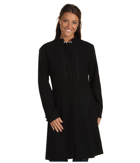 Scully - Embroidered Front Coat (Black) Women's Coat