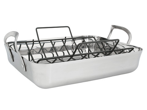 Calphalon - Contemporary Stainless Steel Roaster w/ V Rack (Stainless Steel) Individual Pieces Cookware