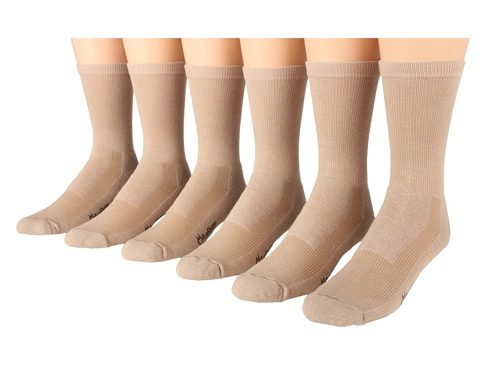 Fox River - Wick Dry Crew Walker 6-Pair Pack (Khaki) Crew Cut Socks Shoes