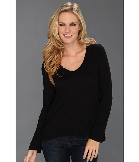 Splendid - Very Light Jersey L/S Scoop Neck Top (Black) Women