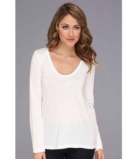 Splendid - Very Light Jersey L/S Scoop Neck Top (White) Women