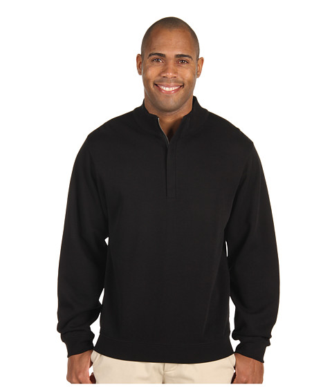 Cutter & Buck - Journey Supima Flatback Half Zip (Black) Men's Clothing