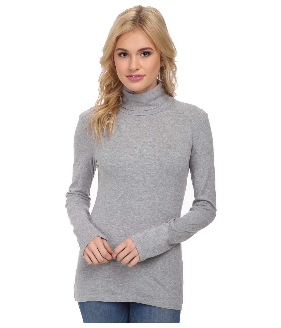 Splendid - 1x1 Long Sleeve Turtleneck (Heather Grey) Women's Long Sleeve Pullover