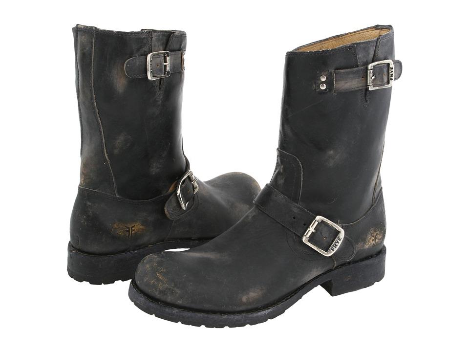 Frye - Rogan Engineer (Black Stone Wash Leather) Men