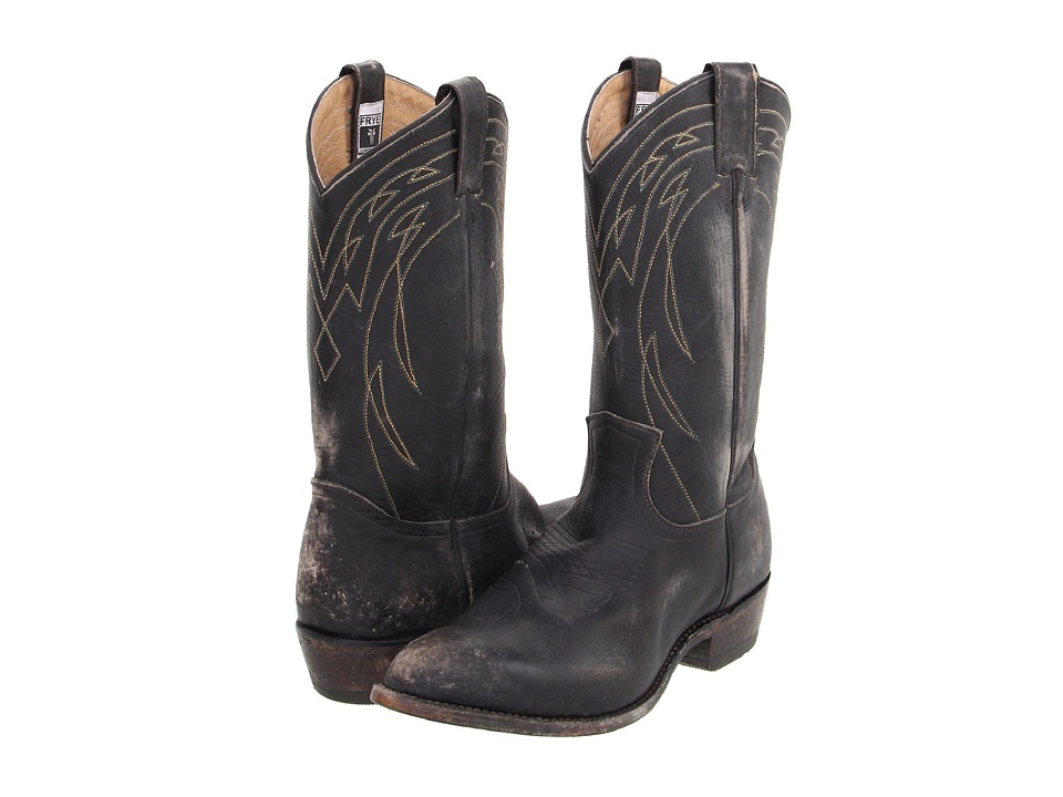 Frye - Billy Pull On (Black Stone Wash) Cowboy Boots