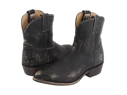 Frye - Billy Short (Black Stone Wash) Cowboy Boots