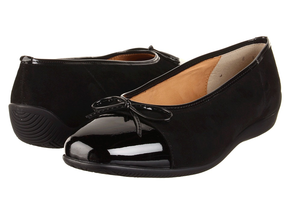 ara - Bella (Black Suede/Black Patent) Women's Dress Flat Shoes