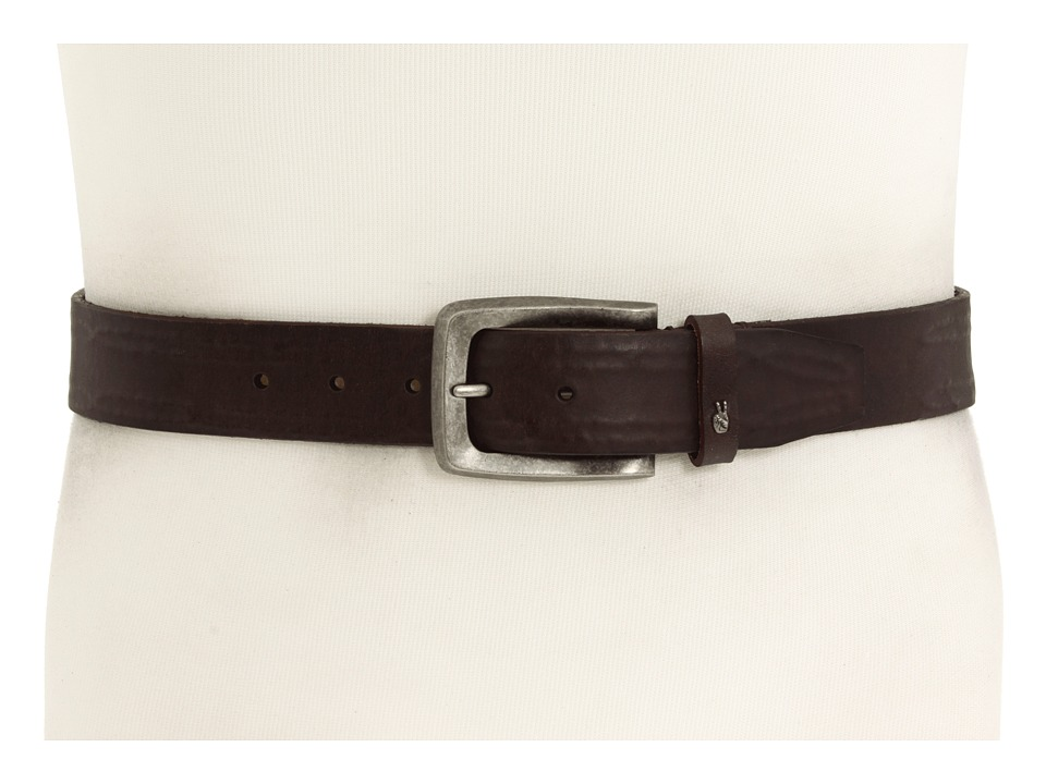 John Varvatos - 38mm Strap with Leather Covered Hand Stitch (Brown Leather/Nickel) Men's Belts
