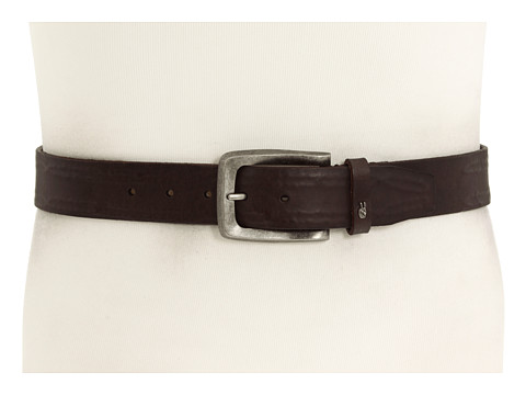 John Varvatos - 38mm Strap with Leather Covered Hand Stitch (Brown Leather/Nickel) Men