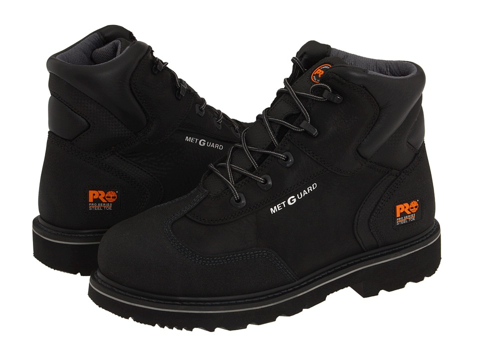 Timberland PRO - 6 Internal Met Guard Steel Toe (Black Full-Grain Oiled Leather) Men