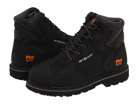 Timberland PRO - 6 Internal Met Guard Steel Toe (Black Full-Grain Oiled Leather) Men's Work Boots