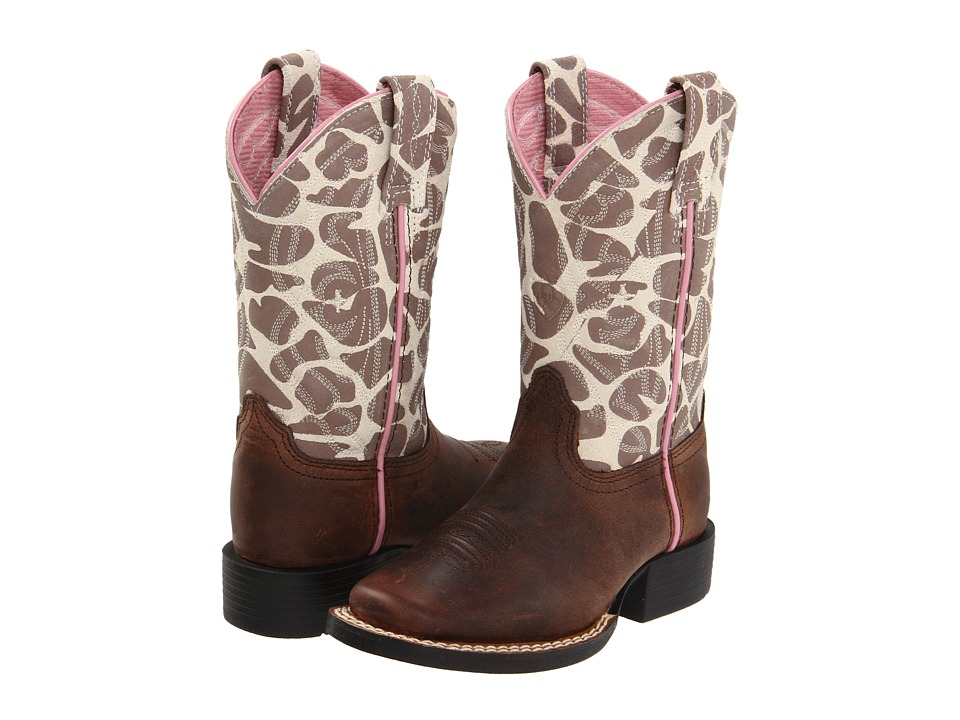 Ariat Kids - Quickdraw (Toddler/Little Kid/Big Kid) (Brown Pull Up/Giraffe Print) Cowboy Boots