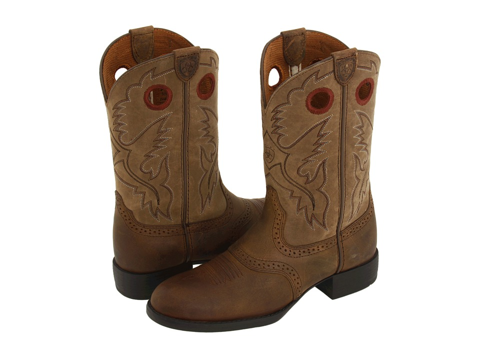 Ariat Kids Heritage Stockman (Toddler/Little Kid/Big Kid) (Distresed Brown/Brown Bomber) Cowboy Boots
