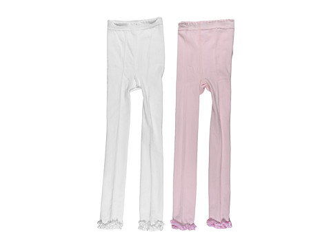 Jefferies Socks - Ruffle Pima Capri 2-Pair Pack (Infant/Toddler/Little Kids/Big Kids) (White/Pink) Sheer Hose