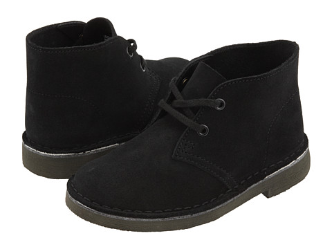 Clarks Kids - Desert Boot (Toddler/Little Kid) (Black Suede) Boys Shoes